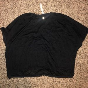 Lululemon Black Short Sleeve Sheer Back Top